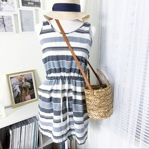 Lou And Grey Striped Cotton Tank Dress Size Small